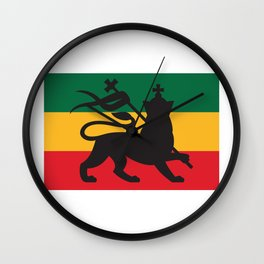rastafarian flag with the lion of judah (reggae background) Wall Clock