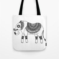 henna Tote Bags featuring Henna Elephant by Julie Erin Designs