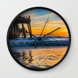 Wet Sand Island Sunset Wall Clock