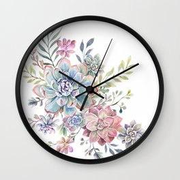 succulent watercolor 6 Wall Clock