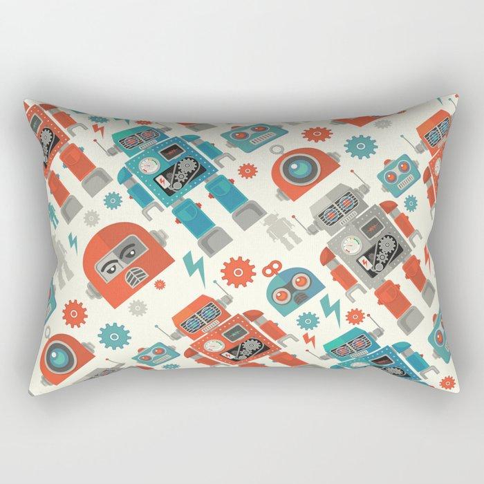 Retro Space Robot Seamless Pattern Rectangular Pillow