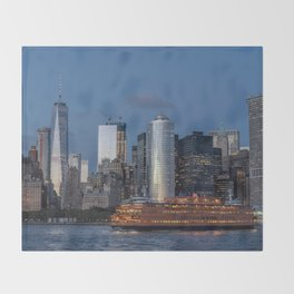 NYC and Staten Island Ferry Throw Blanket