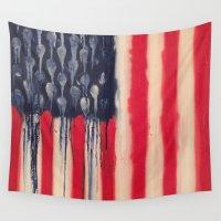 america Wall Tapestries featuring America  by Matt Pecson