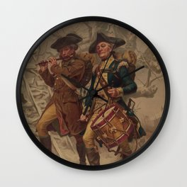 Vintage Continental Army Soldiers Painting (1875) Wall Clock