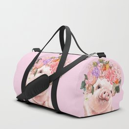 Baby Pig with Flowers Crown Duffle Bag