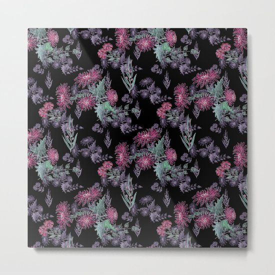 Watercolor floral pattern . 13 Metal Print