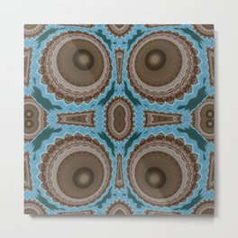 Brown Warts on Blue Pattern Metal Print