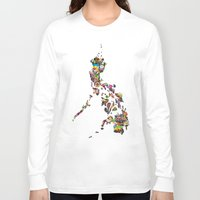 philippines Long Sleeve T-shirts featuring 7,107 Islands | A Map of the Philippines by QUEQZZ