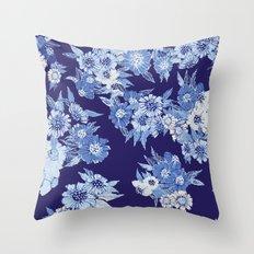 Floral pattern in Indigo Throw Pillow