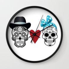 Sugar Skull Love Wall Clock
