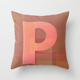 Letter P (peach) Throw Pillow