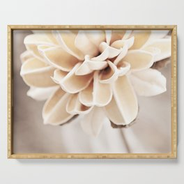 Cream Beige Flower Photography, Light Brown Pale Neutral Nature, Floral Botanical Serving Tray
