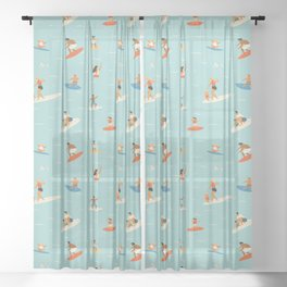 Surfing kids Sheer Curtain