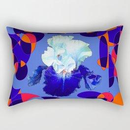 Modern Blue White Iris Orange Saffron Black Design Rectangular Pillow