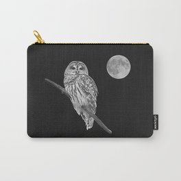 Owl, See the Moon (bw, sq) Carry-All Pouch