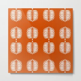 TROPICAL PALMS . ORANGE + WHITE Metal Print