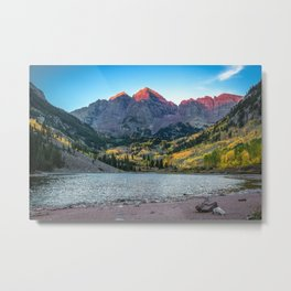 Maroon Bells Morning - Sunrise and Autumn Color near Aspen, Colorado Metal Print