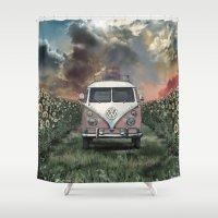 volkswagen Shower Curtains featuring summer by Bekim ART
