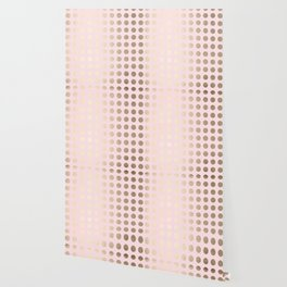 Simply Polka Dots White Gold Sands on Flamingo Pink Wallpaper