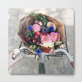 Bike flower Metal Print