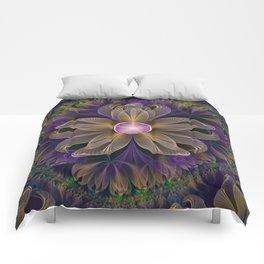 Bohemian Iris of Lavender Potpourri and Green Sage Comforters