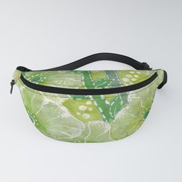 Hollyhock Mallows, Summer Flowers, Floral Collage Chartreuse Fanny Pack