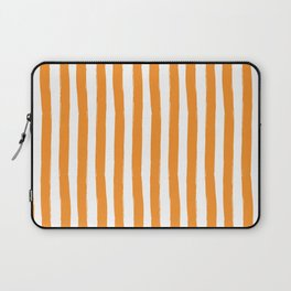 Orange and White Cabana Stripes Palm Beach Preppy Laptop Sleeve