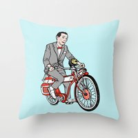pee wee Throw Pillows featuring Pee Wee Herman by Michael Scarano