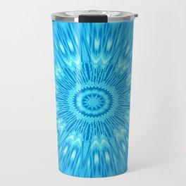 Blue turquoisE Mandala Expolosion Travel Mug