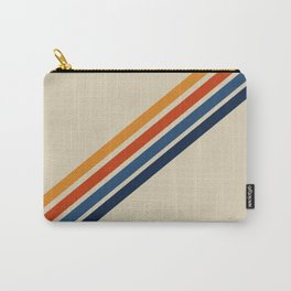 Retro 70s Stripe Colorful Rainbow Tan Classic Vintage Carry-All Pouch