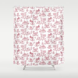 Zombie Toile - Red on White Shower Curtain