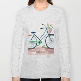 watercolor vintage bike, floral bicycle, summer bike ride Long Sleeve T-shirt