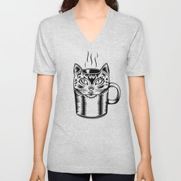 Coffee Cat Unisex V-Neck