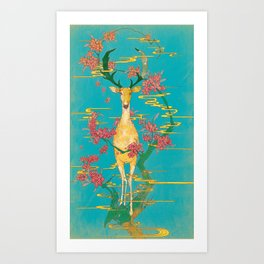 Deer on the Oleander Art Print