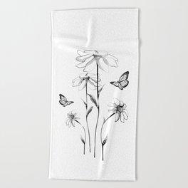 Flowers and butterflies 2 Beach Towel