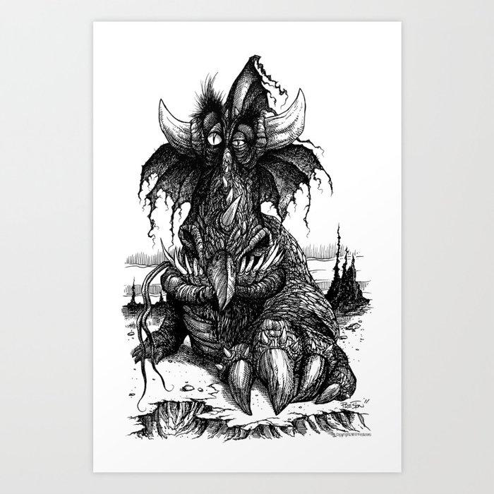 Drowsy Dragon Art Print
