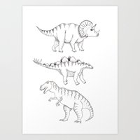 dinosaurs Art Prints featuring dinosaurs by Hannah Elizabeth