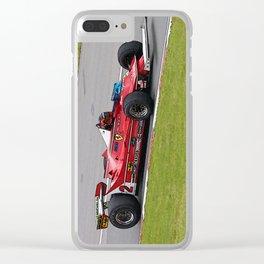 Sketch of F1 Champion Gilles Villeneuve - year 1980 car 312 T5 - Vertical Clear iPhone Case