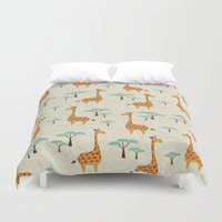giraffes Duvet Covers featuring Giraffes by BlueLela