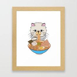 Cats Eating Noodles Out Of A Ramen Bowl T-shirt Design Kitty Kitten Meow Animals Pet Animal Hot Framed Art Print