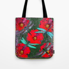 ANTIQUE CRACKLED  BLUE DRAGONFLIES ON RED HOLLYHOCK FLOWERS Tote Bag