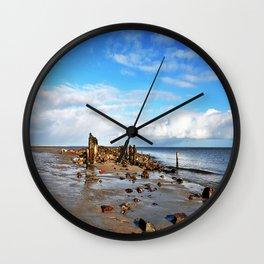 stones on the seashore Wall Clock