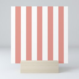 Salmon Rose pink - solid color - white vertical lines pattern Mini Art Print