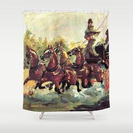 """Henri de Toulouse-Lautrec """"Count Alphonse de Toulouse Lautrec driving a four horse hitch"""" Shower Curtain"""