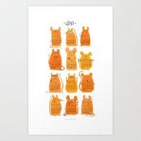 calendar 2015 Art Prints featuring Calendar 2015 by Claire Fauché