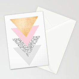 Geometric Triangles - Gold Pink and Marble Stationery Cards