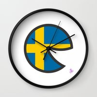 sweden Wall Clocks featuring Sweden Smile by onejyoo