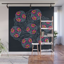 Flowing Flower Japan Ethnic Art Pattern Line Wall Mural
