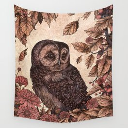 Tawny Owl Pink Wall Tapestry