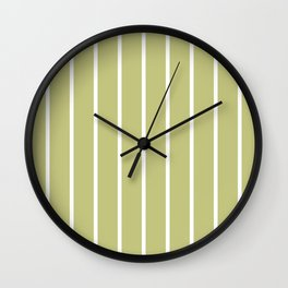 vertical stripes on avocado green Wall Clock